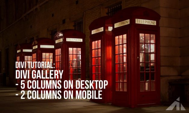 Divi – 5 column gallery on desktop and 2 on mobile