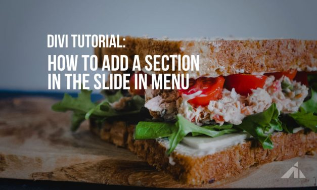 Divi – Adding a section to the slide in menu